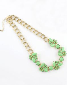 Green Gemstone Gold Double Layers Chain Necklace US$7.51