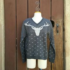J. Crew Vintage Holiday Sweater in Charcoal Snow Worn once. Perfect condition.   My photos were taken outside in natural light without filters. Please ask questions : ) J. Crew Sweaters V-Necks