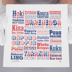 Kaimoana Letterpress Print, fans of type and fish and te reo Framed Art Prints, Poster Prints, Posters, Maori Words, Nz Art, Collagraph, Maori Art, Letterpress Printing, Poster