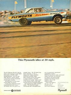 """1965 Plymouth Advertisement """"Melrose Missle"""""""