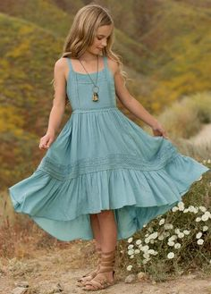 Twirl all Summer long in this beautiful, high-low maxi dress. Crochet lace trim accents the bodice and skirt, with delicate shoulder straps and an invisible zipper at the center back. Girls Fashion Clothes, Girl Fashion, Fashion Dresses, Little Girl Dresses, Girls Dresses, Sadies Dress, Dress Outfits, Girl Outfits, Maxi Dresses