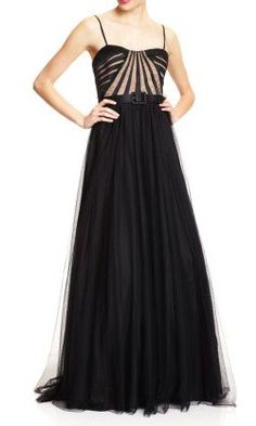 AIDAN MATTOX Strapless Banded Top Gown