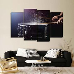 Drum Beats Multi Panel Canvas Wall Art by ElephantStock is printed using High-Quality materials for an elegant finish. We are the specialists in Modern Décor canvas prints and we offer 30 day Money Back Guarantee Light Wall Art, Large Wall Art, Large Canvas, Large Art, Bedroom Canvas, Canvas Wall Decor, Photo Wall Design, Photo Wall Art, Panel Wall Art