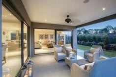 House Design: Forsyth - Porter Davis Homes Alfresco Designs, Alfresco Ideas, Open Plan Kitchen Living Room, Bungalow Renovation, Outdoor Living Rooms, Outdoor Kitchen Design, New Home Designs, Exterior Design, Building A House