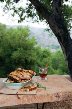 """If you've never grilled a slice of crusty artisan bread, stand by for an """"aha! Here a bit of rosemary-infused honey gilds the lily. Vegetarian Times, Vegetarian Cookbook, Vegetarian Recipes, Honey Recipes, Whole Food Recipes, Honey Drizzle Recipe, Grilled Bread, Natural Kitchen, Dinner Is Served"""