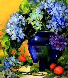 Royal Blue Hydrangeas by Texas Flower Artist Nancy Medina, painting by artist Nancy Medina