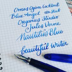 """Yeah I definitely like how this writes! #omas #ogivacocktail #blueangel #organicsstudio #julesverne #nautilusblue #Fpgeeks #FPN #fountainpennetwork…"""