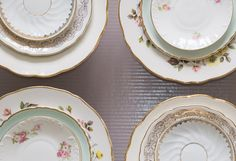 """Set of 12 mismatched porcelain dinner plates. Whithe & Turquoise Mismatched porcelain plates for a beautiful """"Shabby Chic"""" table."""