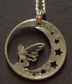 Fairy with Moon and Stars hand cut coin