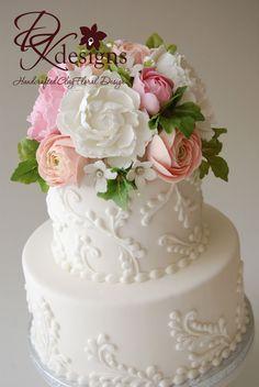 DK Designs: Custom Cake Topper - Peonies, Ranunculus and Stephanotis