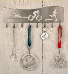 Triathlon Flow Iron Man Medal Display Rack by ShineOnSportyGirl, $40.00