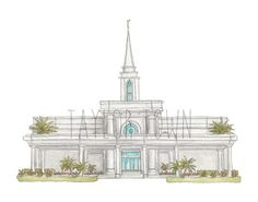 Orlando, Florida LDS Temple, hand draw and water colored, professionally printed and made ready for your home, purchase in 8x10 in or 11x14 in size.