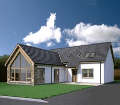 Spey - Scotframe Timber Frame Homes Modern Bungalow Exterior, Bungalow House Design, Modern Farmhouse Exterior, Country Farmhouse, Farmhouse Decor, Timber Frame Homes, Timber House, Timber Frames, Dormer House