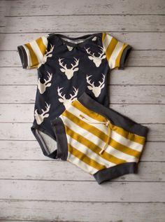 Baby Boy, Baby Boy Clothing, Boys Summer Clothing, Newborn Boy Clothes, Woodland Navy and Mustard Shorts Set, Baby Boy Clothes, Infant Boy by BelleandBeauBoutique on Etsy https://presentbaby.com