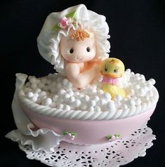 Baby on Bathtub Cake Topper, Baby Shower Cake Topper, Baby with Yellow Duck Cake Decoration