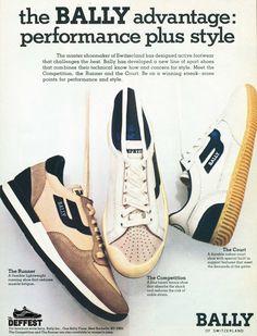 "Bally 1983 ""The Runner"" vintage sneaker ad @ The Deffest Vintage Sneakers, Retro Sneakers, Retro Shoes, Classic Sneakers, Girls Sneakers, Vintage Shoes, Vintage Ads, Shoes Sneakers, Poster Vintage"