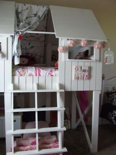 "Another option we've been thinking about to give the girls more ""room"" to play in their room. #AnaWhite #BeachHutBed #LoftBed"