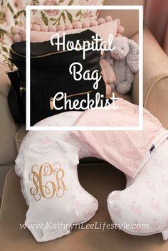 Hospital Bag Checklist; Baby Girl. Mom & Baby bag checklist. www.kathrynleelifestyle.com