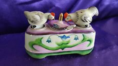 VTG NODDER CHICKEN HEN SALT & PEPPER SHAKERS CONDIMENT SET OCCUPIED JAPAN