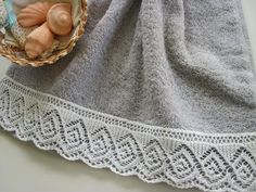 Spiraling Diamonds Lace-edged Towel - Turn an ordinary towel into something extraordinary. Whether for yourself or a gift for someone else, your Spiraling Diamonds Lace-edged Towel will have a special place in the heart and home.
