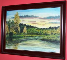 východ slunce_28x40_olej_plátno na sololitu_2004 Display, Mountains, Landscape, Portrait, Architecture, Canvas, Water, Artwork, Painting
