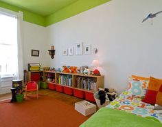 kids room - bright green ceiling