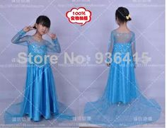 New 2014 Cos  Luxury Custom Made Frozen Elsa Princess Dress Cosutme Movie Cosplay Costume Sky Blue  Kid Children free US $69.00