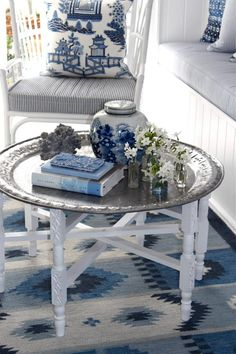 blue white china...I miss my brass table and stand....
