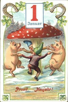 Frohes neues Jahr! Pigs - Свинки, pig - #neues Jahr #Pig #Prosit #pigs .... - #Frohes #Jahr #Neues #Pig #pigs #Prosit #свинки Vintage Christmas Cards, Christmas Images, Vintage Cards, Christmas And New Year, Vintage Postcards, Weird Vintage, New Year Postcard, Pig Art, New Year Images