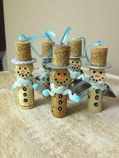 Snowmen Wine Cork Ornaments Blue by StudioEightySix on Etsy, $20.00