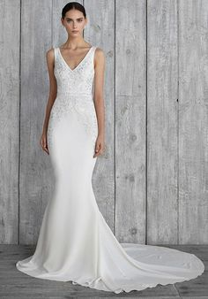 Streatch Crepe de Chin gown with Beaded Embroidery