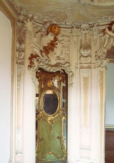 Door in the Palazzo Papadopoli's Stucco Room, decoration by Michelangelo Guggenheim. Neo-Rococo Style, inspired by Louis XV Style. Rococo Style, Architectural Antiques, Michelangelo, Venice Italy, 16th Century, Venetian, Palazzo, Bella, Interiors