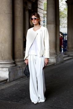 lfw-london-fashion-week-streetstyle-ss-spring-summer-2013-fall-whites-all-white-look-moto-jacket-white-tee-tshirt-wide-leg-pants-clutch-roun...