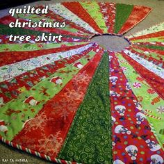kai ta hetera: quilted christmas tree skirt OR pillow top OR pouf top!!!!!!