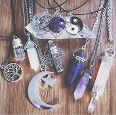 Grunge. Hipster. Cute. Crystals. Ying Yang. Tree. Star. Moon. Beautiful. Jewelery. Gem. Purple. Silver.