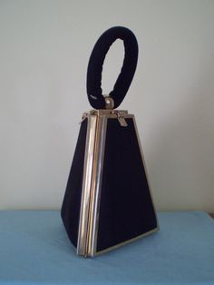 VERY RARE Vintage 1950s Black Fabric Pyramid 'Tyrolean' brand purse..The Purse Folds Down On 3 Sides !!