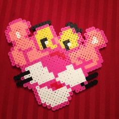 Pink Panther perler beads by rickitycrickets