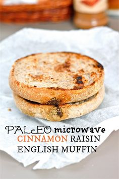 Microwave Cinnamon Raisin English Muffin Recipe- A Paleo and Gluten Free microwave English Muffin- ready in under 3 minutes and with a burst of cinnamon!