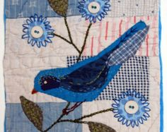 Delightful applique onto patchwork, adding a rich dimension. Fabric Birds, Fabric Art, Fabric Crafts, Sewing Crafts, Old Quilts, Small Quilts, Mini Quilts, Bird Applique, Applique Quilts