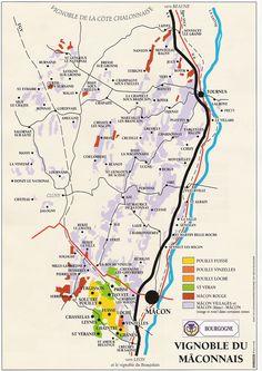 Carte du vignoble Mâconnaise