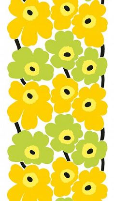Marimekko Unikko Yellow / Lime PVC Fabric The Unikko Marimekko fabric displays large yellow and lime green poppy flowers with black centers and black stems. This popular pattern was designed by Maija Isola in (See secondary photo for an. Textures Patterns, Fabric Patterns, Print Patterns, Floral Patterns, Marimekko Fabric, Scandinavia Design, Pvc Fabric, Cotton Fabric, Fabric Display