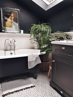 The couple sacrificed a third bedroom to move the bathroom upstairs and fit this stunning roll top bath in Bathroom Interior Design, Bathroom Styling, Bathroom Designs, Dark Bathrooms, Small Dark Bathroom, Roll Top Bath, House Beds, Bathroom Inspiration, Bathroom Inspo