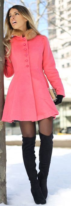winter coral coat and black thigh high boots - MBFW 2014 : First Day by Glamgerous