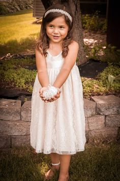 Boho Flower Girl Dress Lace Flower Girl by FlowerGirlsCouture