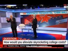 Bernie Dominates CNN Town Hall. - YouTube College Costs, Bernie Sanders, Town Hall, Politics, Youtube, Youtubers, Youtube Movies