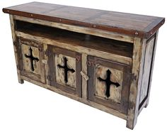 Rustic Wood Entertainment Console with Cross Cut Out Doors. This rustic wood console features a cut-out cross on the 3 doors, iron band with clavos and rustic iron hardware. Italian Bedroom Furniture, Mexican Furniture, Western Furniture, Unique Furniture, Cheap Furniture, Rustic Furniture, Furniture Decor, Cabin Furniture, Furniture Removal