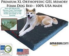 Extra Large Ultimate Luxury 7 inch Gel Memory Foam Orthopedic Dog Bed  Lucky Dog Lifetime Guarantee Series  Most Supportive Luxurious Pet Bed in the World  100 USA Made with CertiPur NonToxic Foams  Engineered for Large Breed Dogs to Provide Support  Ultimate Comfort for Life Blue Denim Large Extra Large XL  Mammoth Blue Denim Extra Large XL 52 x 36 x 7 *** For more information, visit image link.