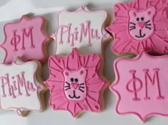 Phi Mu cookies Phi Mu Sorority favors by RPConfections on Etsy, $35.00