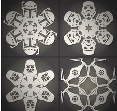 DIY Star Wars snowflakes- I made the Boba Fett one yesterday, could not possibly be cooler.