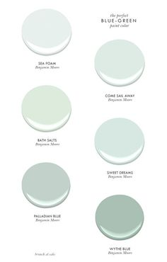 The Perfect Blue-Green Benjamin Moore Paint Colors - Sea Foam, Come Sail Away, Bath Salts, Sweet Dreams, Palladian Blue & Wythe Blue Blue Green Paints, Green Paint Colors, Interior Paint Colors, Paint Colors For Home, Wall Colors, House Colors, Coastal Paint Colors, Cottage Paint Colors, Coastal Color Palettes